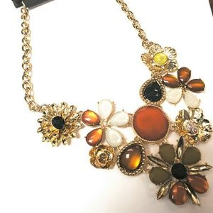 NY & Co Floral & Faux-Stone Statement Necklace
